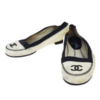 Auth CHANEL CC Logo Flat Pumps Shoes Leather Ivory Made In Italy #36 09BK008