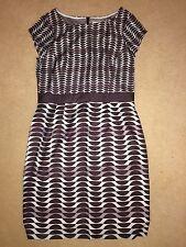 BNIP Boden Ladies Brown/Aqua Geometric Patterned Short Sleeve Dress - Size 10