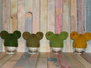 new hand knitted teddy bear egg cosy/cozy set of 4.