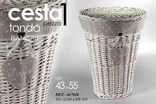CESTA IN VIMINI TONDA PORTA BIANCHERIA HOME BIANCA H55*43 CM HEZ-667848