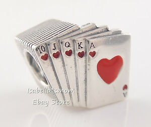 PLAYING CARDS Authentic PANDORA Red Enamel POKER Charm 797195EN09 NEW w POUCH!