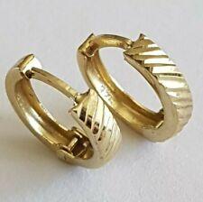 Beautiful Solid 9ct Gold Ladies Hinge Hoop Huggie Earrings. 13mm. Not Scrap