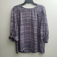 Worthington Popover Blouse Sz Large Purple Black Stripes 3/4 Sleeves Keyhole
