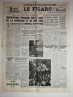 N1239 La Une Du Journal Le Figaro 10 Mai 1954 colonnes de prisonniers