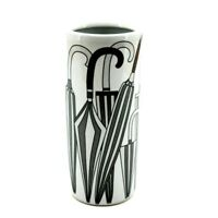 "Classic Umbrella Stand Ceramic 18"" Round Tall Black & White Stick Holder Storage"