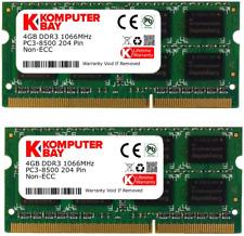 Komputerbay 8GB 2x 4GB DDR3 SODIMM 204 pin 1066Mhz PC3 8500 for Apple 8 GB