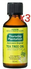 Thursday Plantation-100% Tea Tree Oil 50mL x3 Multipurpose Antiseptic Disinfects