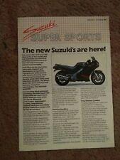 Suzuki Range Brochure - October 1987 - features RG500, GSX-R 750 / 1100 Slabside