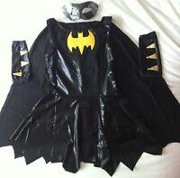 ADULT LADIES WOMAN'S BLACK BAT GIRL ROBIN  FANCY DRESS COSTUME SIZE 8 10 12