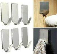 6Pcs Self-Adhesive Stainless Steel Hooks Hangers For Wall Door Sticker Holder