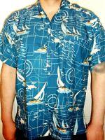 Mens Blue Tropical Navigation Sailor Regatta Compass  Pirate Hawaiian Shirt XL