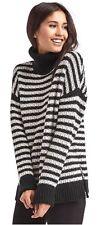 New- Gap Ladies Size Medium Black Stripe Turtleneck Sweater Nwt