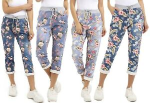 Women's Ladies Daisy Print Italian Trousers Casual Joggers Jogging Bottoms Pants