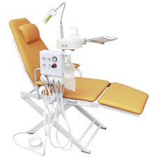 Dental Yellow Portable Chair Unit with LED Lamp + Turbine Unit 2H + Waste Basin