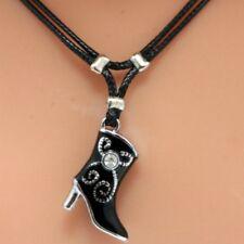 Collier pendentif bottine noire avec strass - black cowboyboot pendant necklace