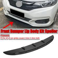 Universal Car Front Bumper Chin Spoiler Lip Valance Splitter Add On Skirt Black