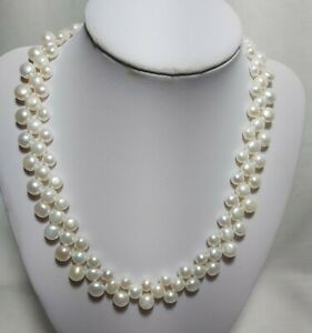 3 Rows cultured freshwater pearls 6.5-8.5mm 4A outstanding Bridal necklace L42cm