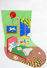 """Needlepoint Handpainted Christmas Stocking GOODNIGHT MOON Bunny in Bed 18"""""""