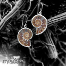 New Starborn Creations Sterling Silver Fossil Ammonite Wire Earrings EE0006