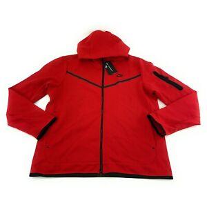 Nike Men's Sportswear Tech Fleece Red Black Full Zip Hoodie CU4489-657 Size L