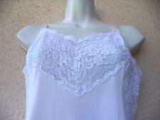 Vintage 1960s FULL SLIP Lacy Ultra Femme Sheer Nylon PETTICOAT Wedding White 34