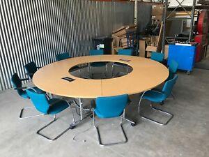 CIRCULAR EXECUTIVE BOARDROOM TABLE, MOBILE, FLIP TOP, DATA & COMMS MODULES