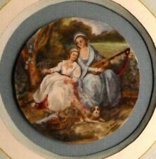 France, 1830: A Mother and Daughter and their Guitar, Charming Miniature Gouache