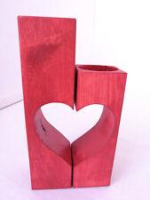 Set of 2 Handmade Red Heart Shaped Wooden Tea Light Holders Rustic Gift Idea