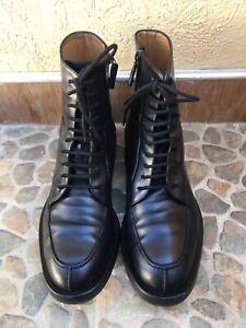 Gucci Black Betis Leather Lace Zip Combat Boots 325856 Size 10.5/US 11.5