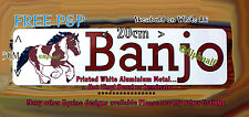 SKEWBALD Horse Pony Stable door sign plaque brown text printed on White Metal