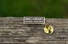 Wal-Mart Share Holder Gold Tone Metal & Black Enamel Employee Lapel Pin Pinback