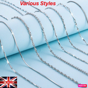 New 925 Sterling Silver Plated Chain Necklace Belcher Figaro Snake Curb Chain UK