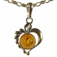 BALTIC AMBER STERLING SILVER 925 LOVE HEART PENDANT NECKLACE CHAIN JEWELLERY