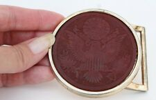 Mens Belt Buckle, Leather Embossed, Seal of the President, Vintage belt buckle