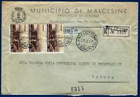 """1957 - Raccomandata resa franca con """"Turistica"""" striscia di 3 valori da Lire 35"""