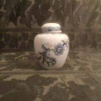 "Lidded Ginger Jar Blue White Andrea by Sadek 5"" 3 Piece Set"