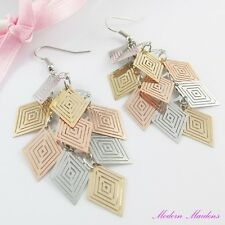 Three Tone Filigree Stamped Geometric Diamond Hook Earrings 80mm