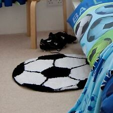 IT'S A GOAL FOOTBALL RUG CATHERINE LANSFIELD KIDS BOYS BEDROOM BLACK WHITE NEW