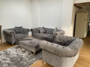 Chesterfield Sofa and 2 Arm Chairs