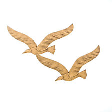 Flying Pair of Seagulls - Handmade Metal Wall Art Sculpture - Gold Color