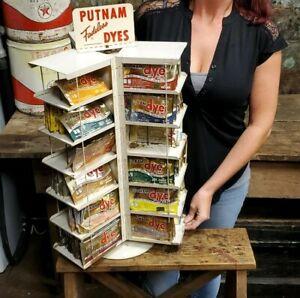 Vintage PUTNAM Fadeless Dyes Metal Store Display Rotating Rack Dye Pack