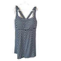 Lands' End Dresskini Swim Dress Top Plus Size 26W Blue White Striped Underwire