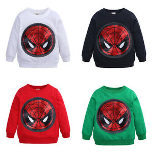 Toddler Kids Boy Spiderman Captain America T-shirt Tops Casual Blouse Clothes UK
