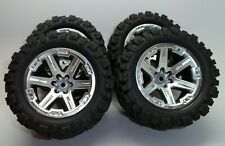 New Traxxas Rustler 4X4 VXL SILVER EDITION Front and Rear Tires and Wheels (4)