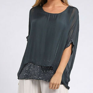 Double Layer Silk and Sequin Batwing Top in Charcoal from Timeless Season