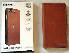 Nomad Leather Folio Wallet Case for Apple iPhone 7 Plus - Brown USED
