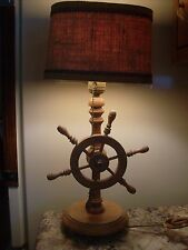 "Vintage Wooden ""Ship's Wheel"" Table Lamp w/Burlap Shade"