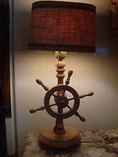 "Vintage Wooden ""Ship's Wheel"" Table Lamp w/Burlap Shade"