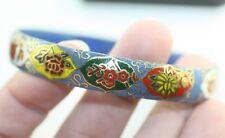 Vintage Chinese Cloisonne Enamel Gilt flower red elaborate Bangle Bracelet