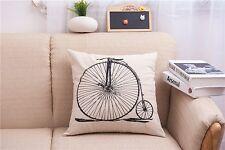 Pillowslip Linen black Bicycle Throw Pillow Case Cushion Cover Home sofa
